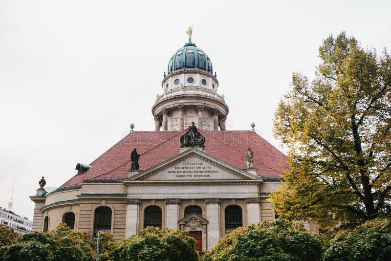 Francuscy katedry lub Franzoesischer Dom w Berlin, Niemcy Ewangelicki i Luterański kościół obraz royalty free