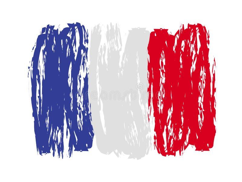 Francuscy kolorowi szczotkarscy uderzenia malująca flaga - wektor ilustracja wektor
