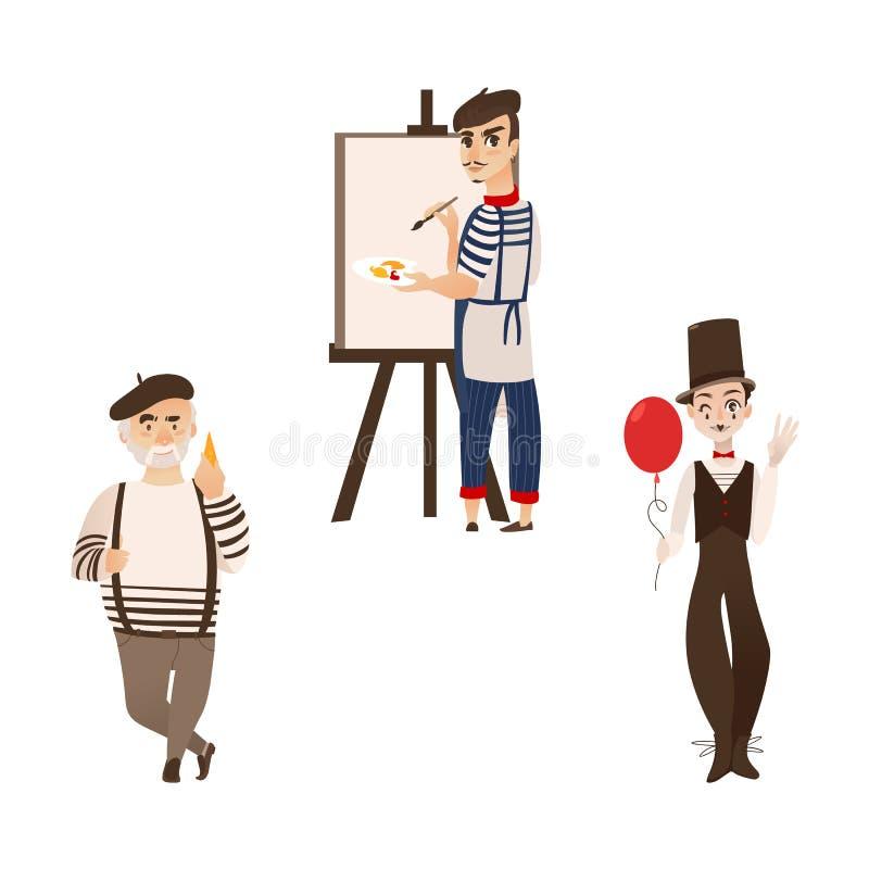 Francuscy mężczyzna, charaktery, mim i smakosz, - artysta, ilustracja wektor