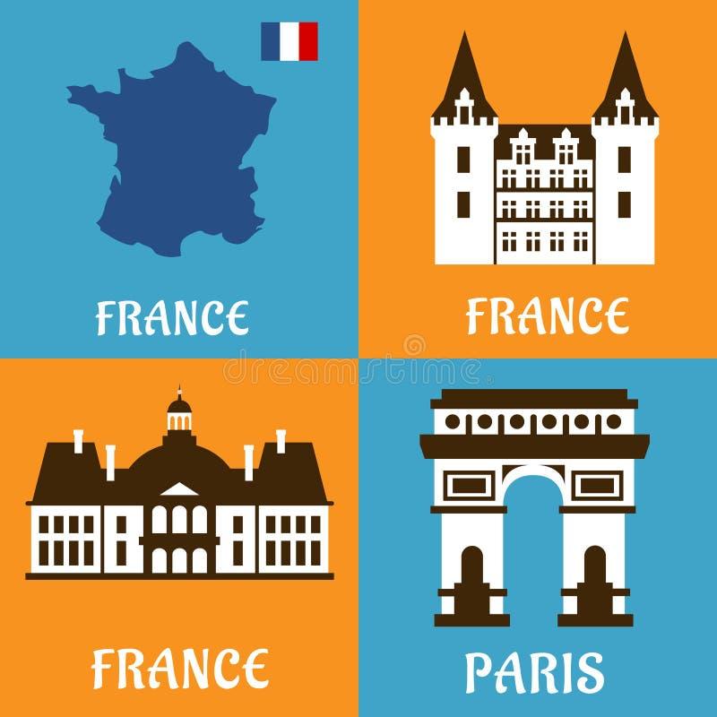 Francuscy punkty zwrotni i podróży mieszkania ikony royalty ilustracja