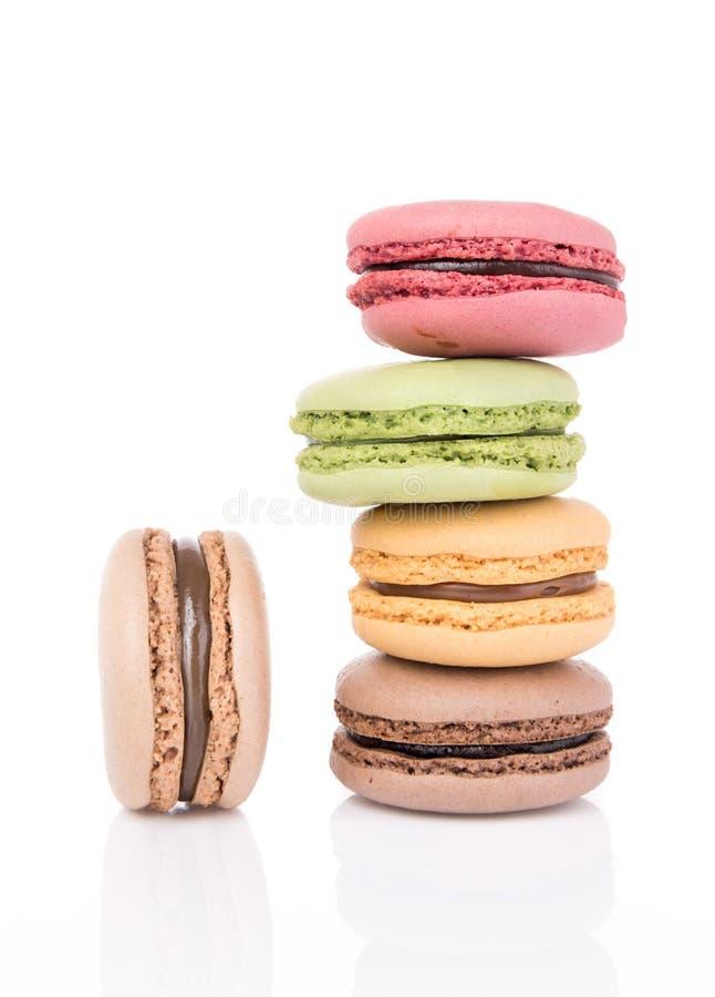 Francuscy słodcy delikatność macaroons odizolowywający na białym tle fotografia stock