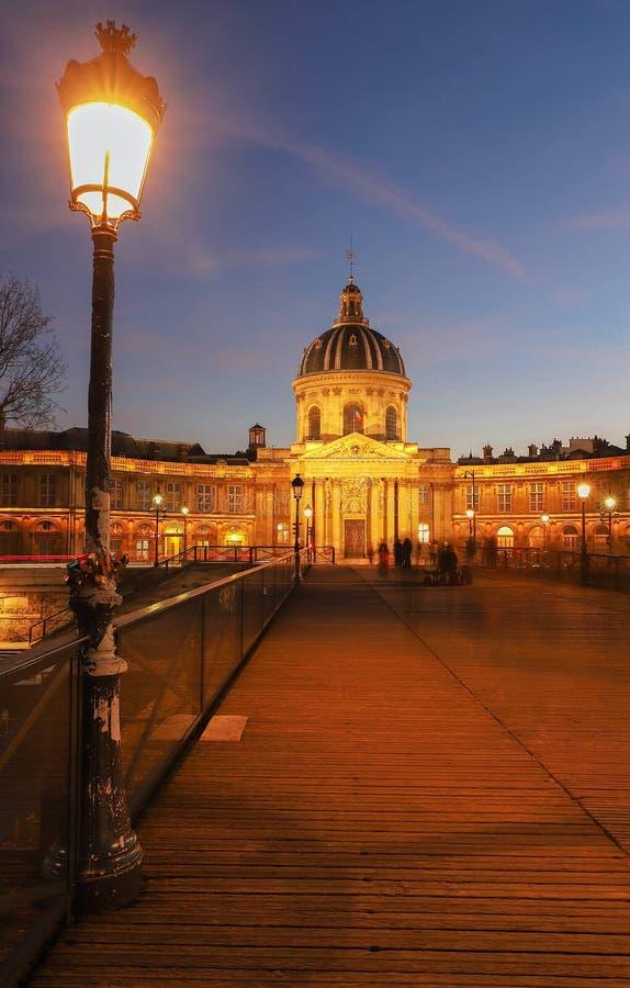 Francuska akademia przy nocą, Paryż, Francja obraz royalty free