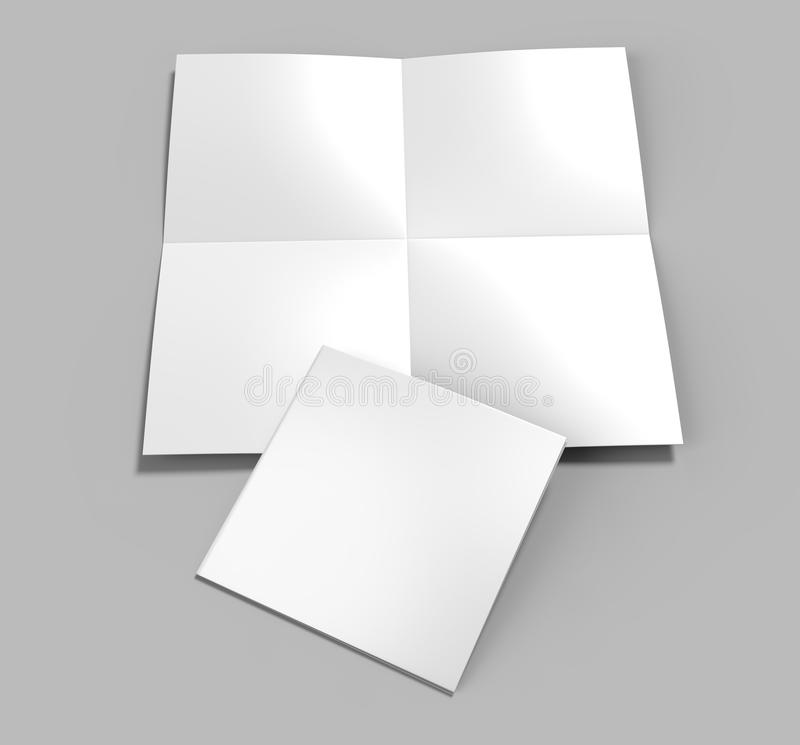 Francuska fałdu a4 a5 kwadrata broszurki ulotki ulotka dla egzaminu próbnego up i szablonu projekta pusty biel 3d odpłaca się ilu ilustracja wektor