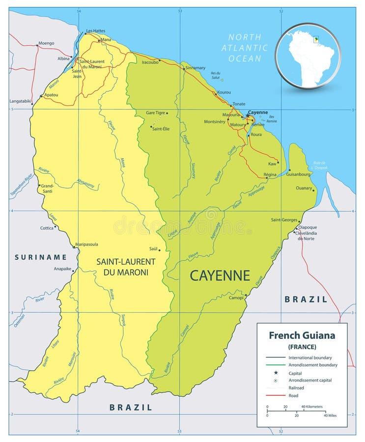 Francuska Guiana polityczna mapa z drogami i rzekami ilustracja wektor