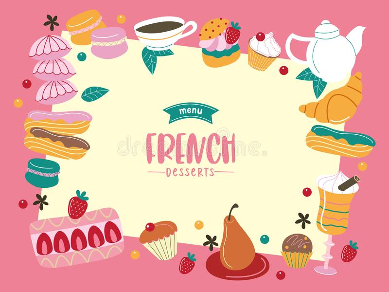 Francuska kuchnia, różnorodni tradycyjni desery Wielki set vec ilustracji