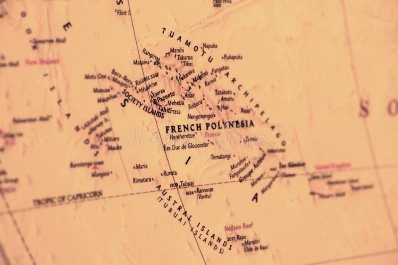 francuska mapa Polynesia zdjęcie stock