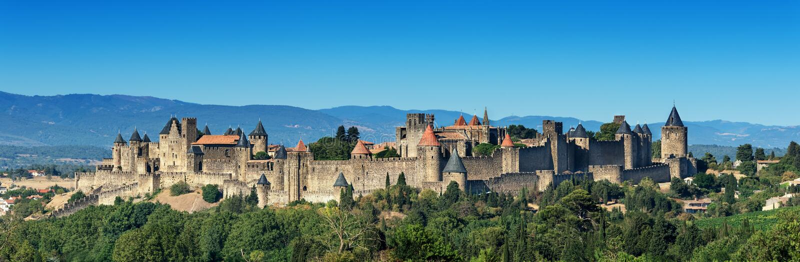 Francuski średniowieczny Carcassonne forteca obraz royalty free