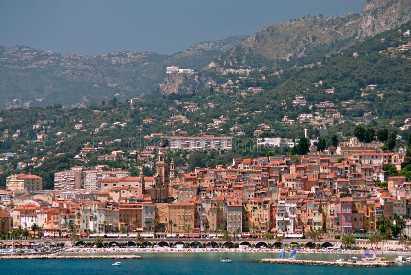 francuski średniowieczny menton Riviera miasteczko obrazy stock