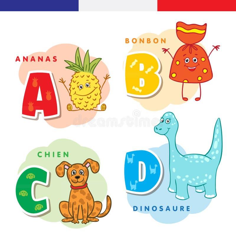 Francuski abecadło Ananas, cukierki, pies, dinosaur, Wektorów charaktery i listy royalty ilustracja