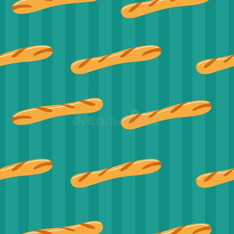 Francuski baguette chleb bezszwowy wzoru royalty ilustracja