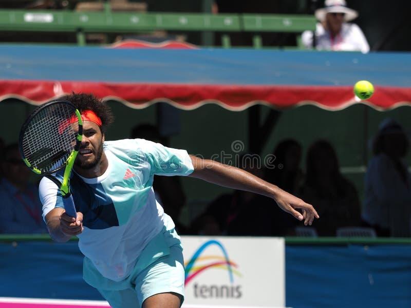 Francuski gracz w tenisa Jo-Wilfried Tsonga narządzanie w Melbourne dla australianu open obrazy royalty free
