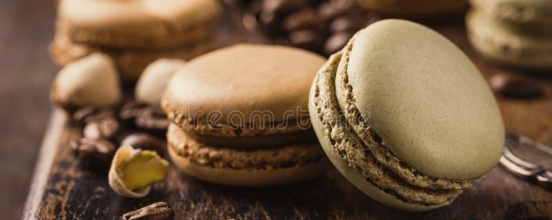 Francuski Kawowy Macarons obraz stock