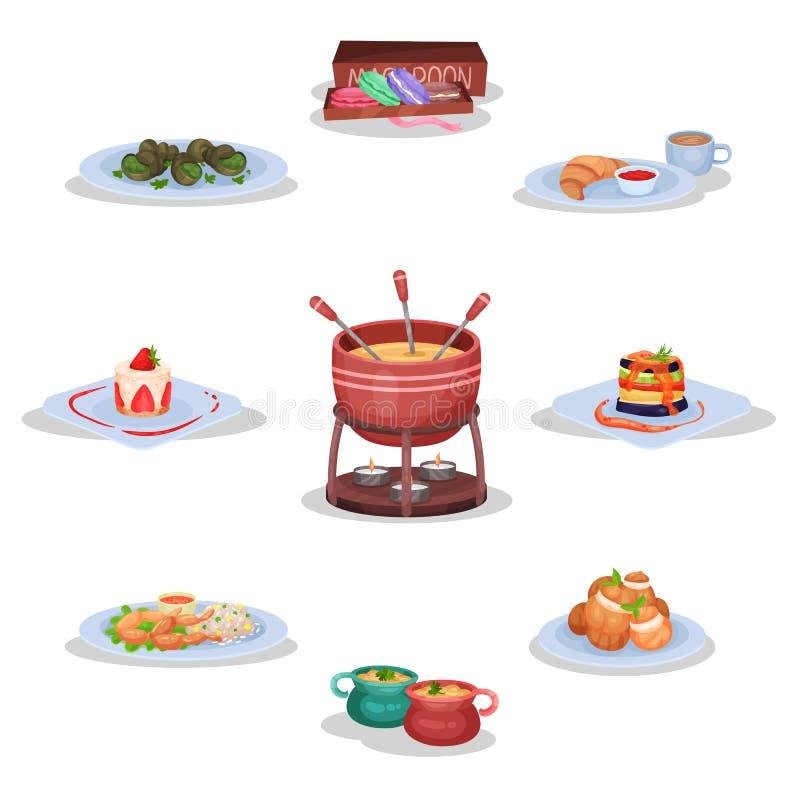 Francuski kuchnia set, macaroon ciastka, escargot, serowy fondue, ratatouille, żab nogi, cebulkowa polewka, eclairs wektorowi royalty ilustracja