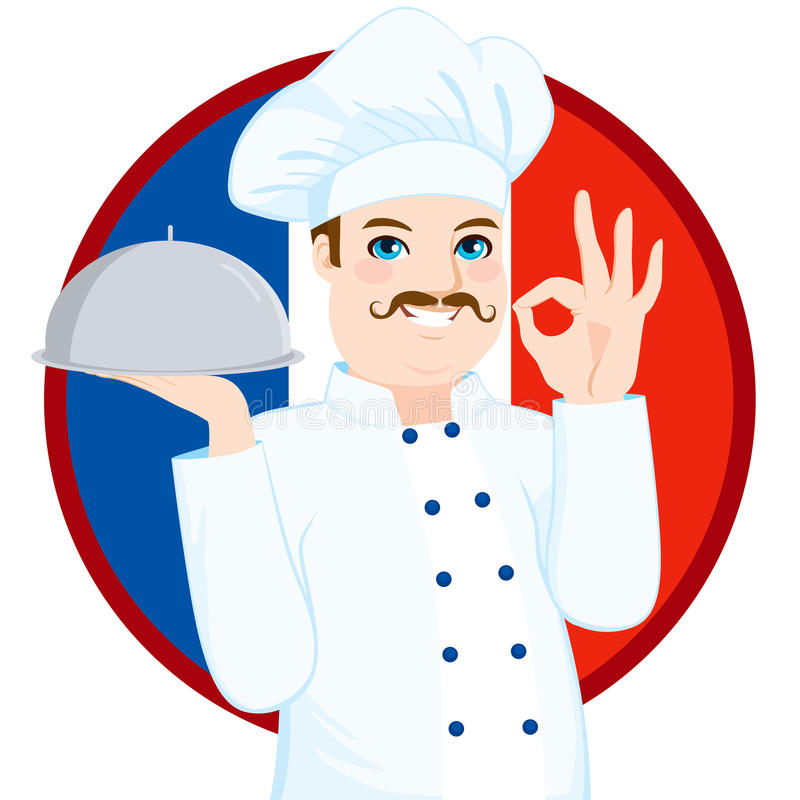 Francuski kuchnia szef kuchni Z wąsy ilustracja wektor