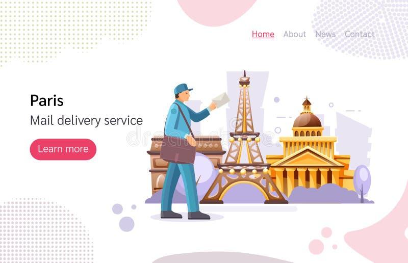 Francuski listonosz pracujący kurier z torbą dostarczającą korespondencję ilustracji