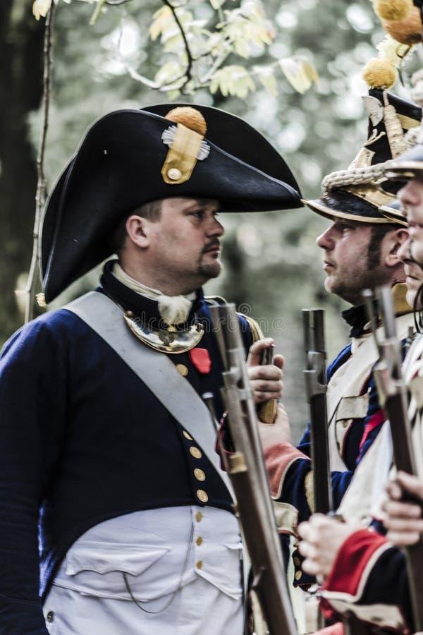 Francuski napoleonic kapitan i pluton fotografia royalty free