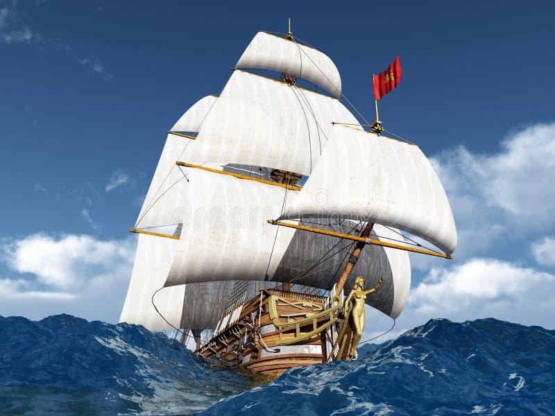 Francuski okręt wojenny ilustracja wektor
