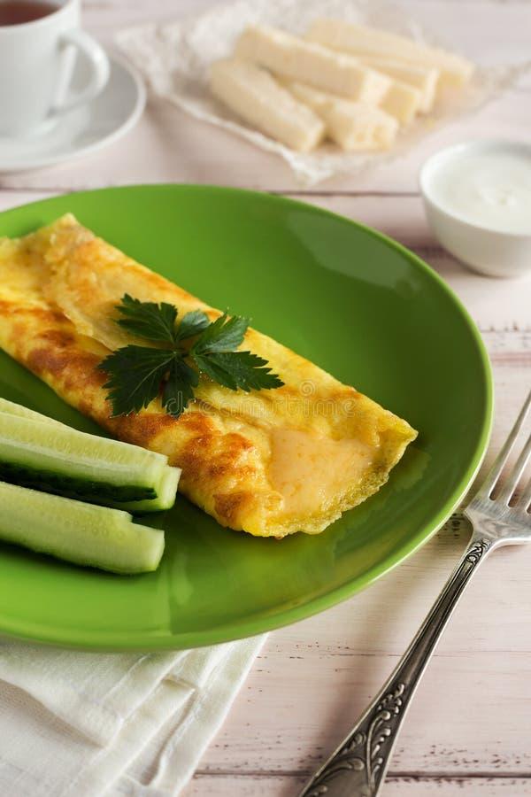 Francuski omlet z pietruszką i serem obraz royalty free