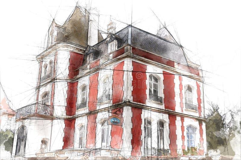 Francuski rezydencja ziemska dom ilustracji