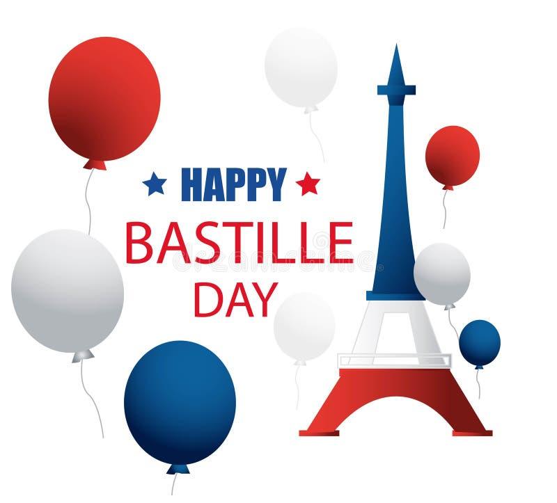 Francuski ?wi?to pa?stwowe 14 Lipiec Szczęśliwy Bastille dzień! Płaski sztandar w kolorach flaga państowowa Francja dla karty i p royalty ilustracja