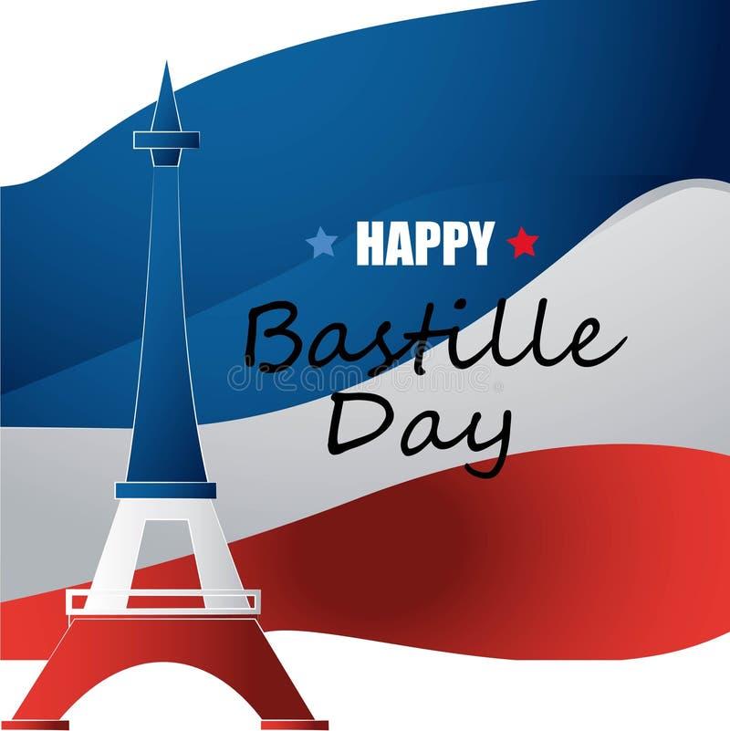 Francuski ?wi?to pa?stwowe 14 Lipiec Szczęśliwy Bastille dzień! Płaski sztandar w kolorach flaga państowowa Francja dla karty i p ilustracji