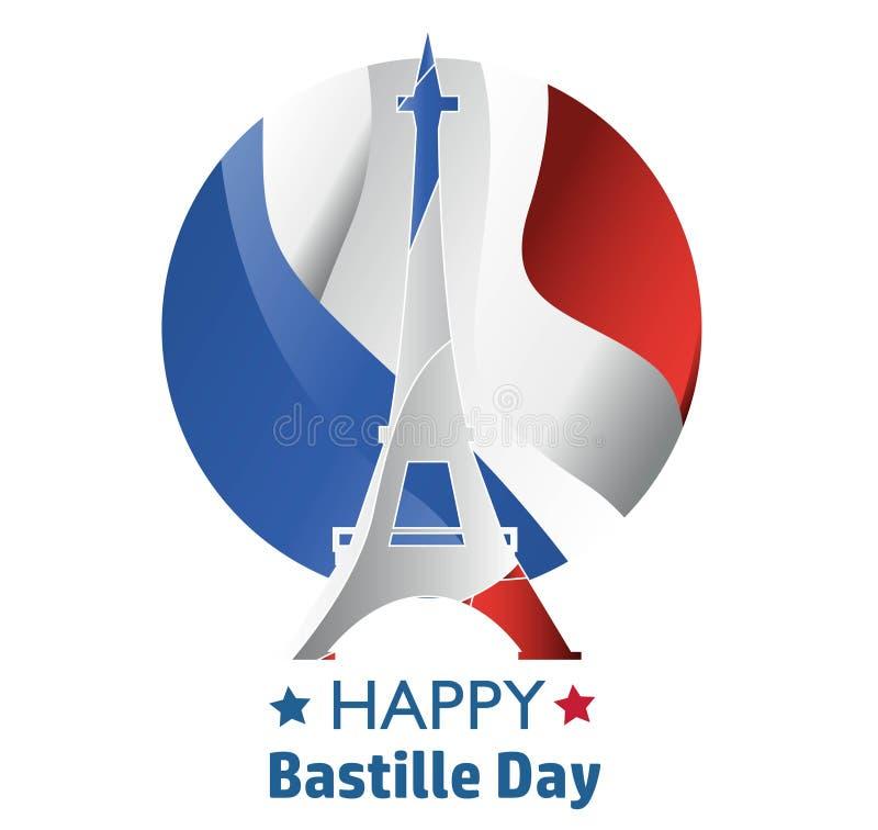 Francuski ?wi?to pa?stwowe 14 Lipiec Szczęśliwy Bastille dzień! Płaski sztandar w kolorach flaga państowowa Francja dla karty i p ilustracja wektor