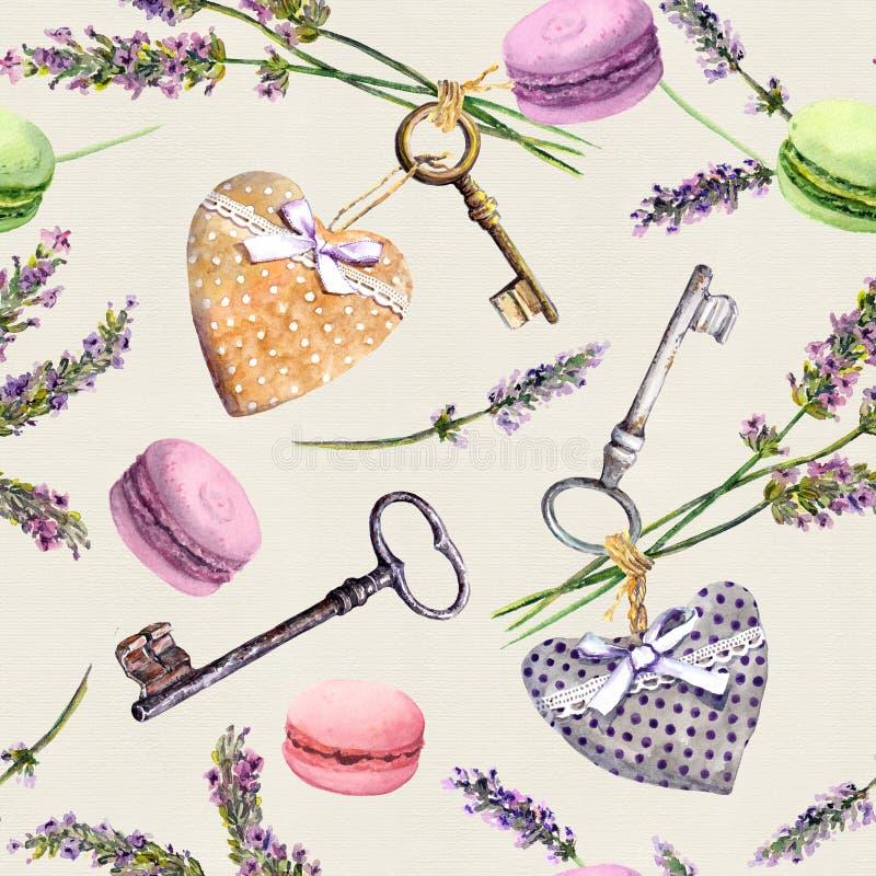 Francuski wiejski tło - lawenda kwitnie, macaroon torty, roczników klucze, tekstylni serca bezszwowy wzoru akwarela ilustracji