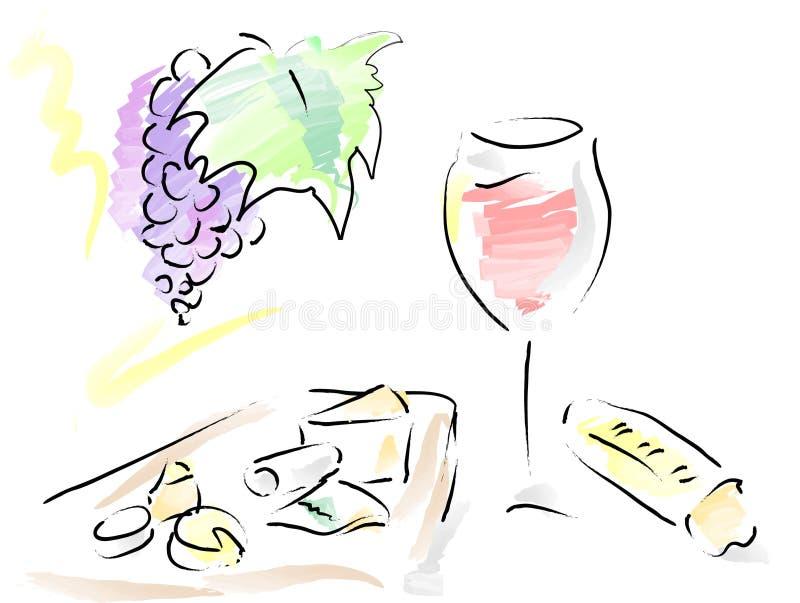 Francuski wino, serowy talerz i francuski chleb, ilustracji