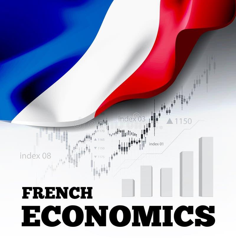 Francuskich ekonomii wektorowa ilustracja z France chorągwianą i biznesową mapą, prętowej mapy akcyjnych liczb byka rynek, uptren royalty ilustracja