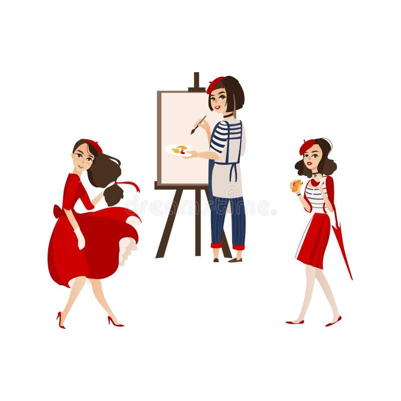 Francuskie kobiety z typowymi symbolami Francja royalty ilustracja