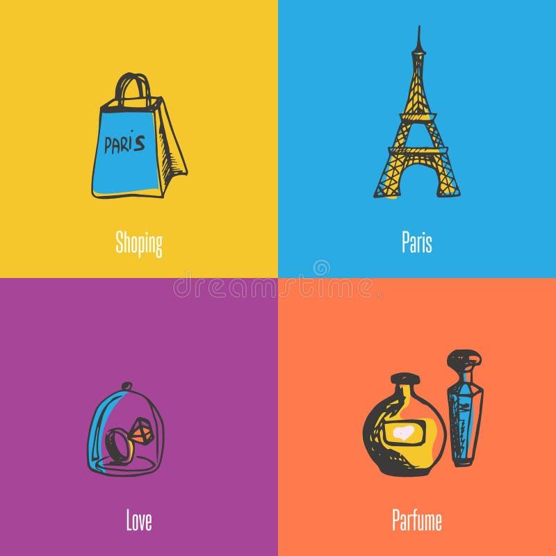 Francuskie Krajowych symboli/lów Wektorowe ikony Ustawiać ilustracja wektor