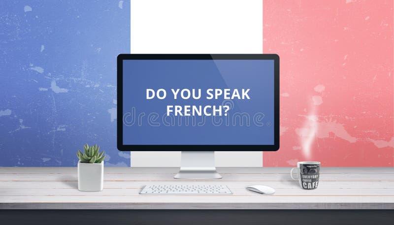 Francuskie lekcje online Pojęcia nauczania język online obraz royalty free