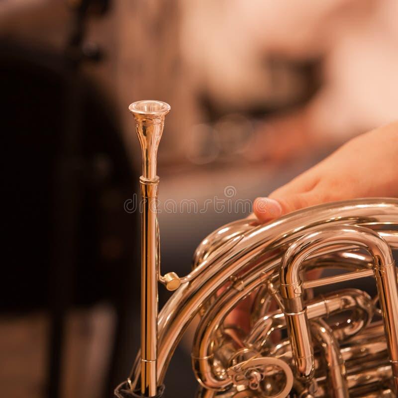 francuskie odłamki rogu instrumentu musicalu wiatr obrazy stock