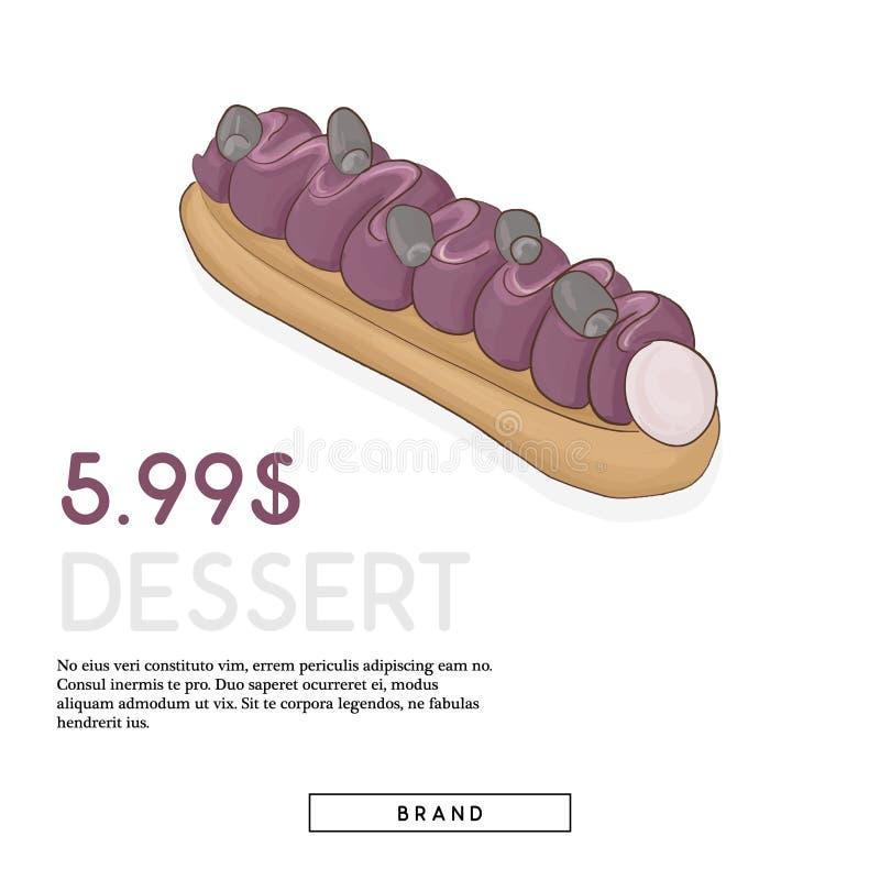 Francuskiego deserowego reklamy poczty lunchu czasu śmietankowy karmowy kawałek z marketingowym tekstem Słodki smakosz dekorujący ilustracja wektor