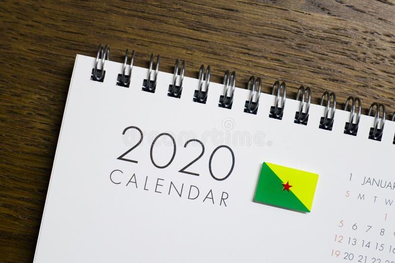Francuskiego Guiana flaga na 2020 kalendarzu ilustracja wektor