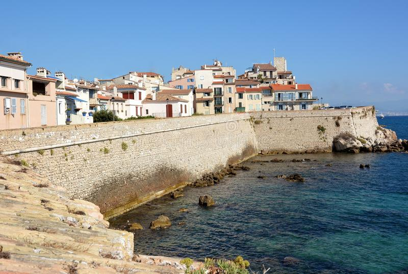Francuskiego Riviera, Antibes stary miasteczko, ramparts zdjęcia royalty free