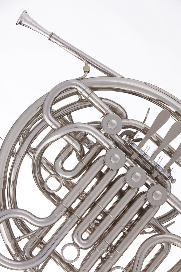 francuskiego rogu odizolowywający srebny biel obraz stock
