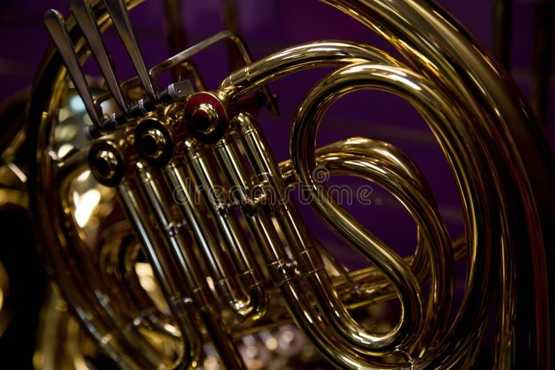 Francuskiego rogu tła pojęcia purpurowa muzyka zdjęcie royalty free
