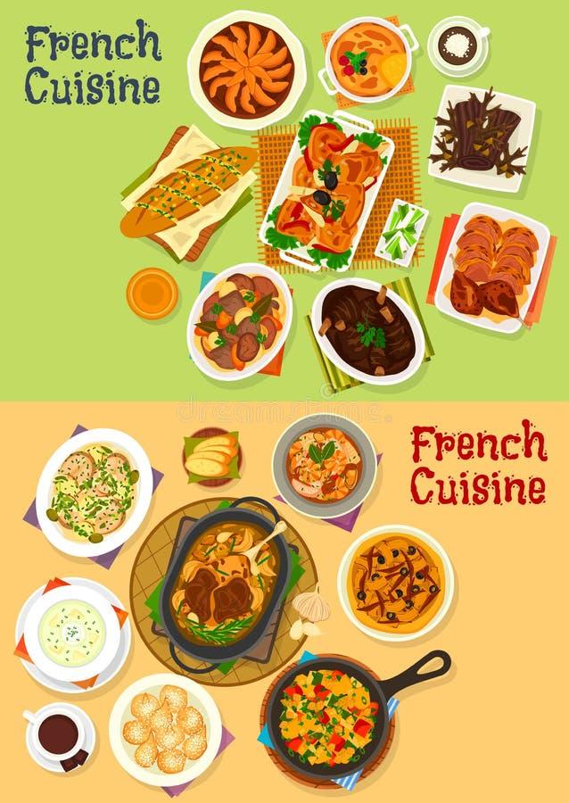Francuskiej kuchni obiadowa ikona ustawiająca dla menu projekta ilustracji