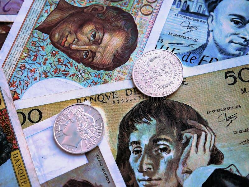 Francuzów banknoty i monety zdjęcia royalty free