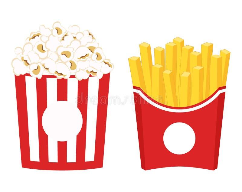 Francuzów dłoniaki i popkornu clipart Francuzów dłoniaki i wystrzał kukurudza w czerwonym papierowym pudełku royalty ilustracja