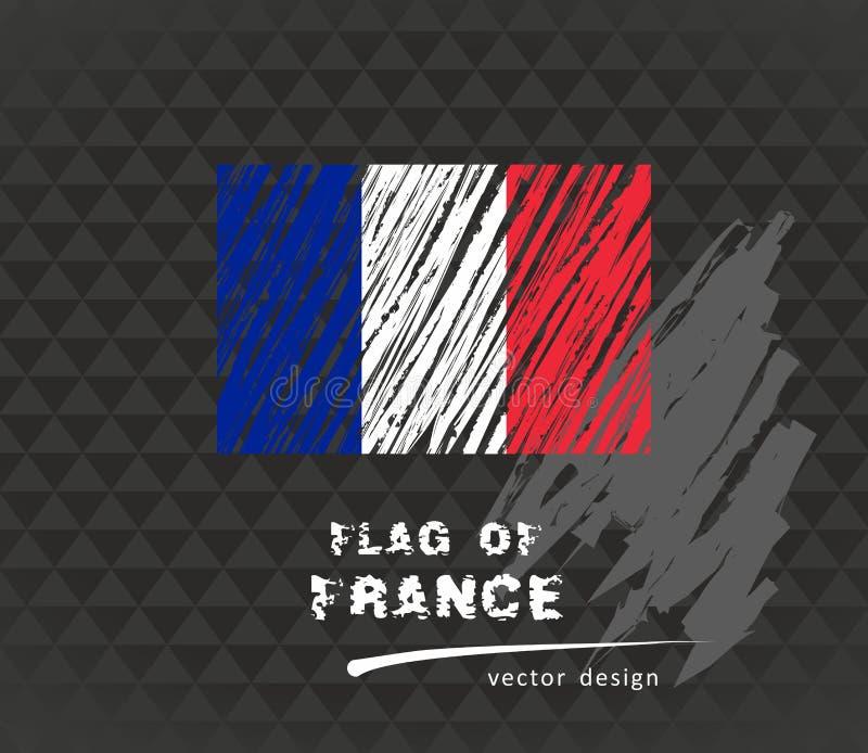 Francuz flaga, wektorowa ręka rysująca nakreślenie ilustracja na ciemnym grunge backgroud ilustracja wektor