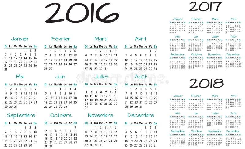 Francuz 2016 2017 i 2018 rok wektoru kalendarz ilustracja wektor