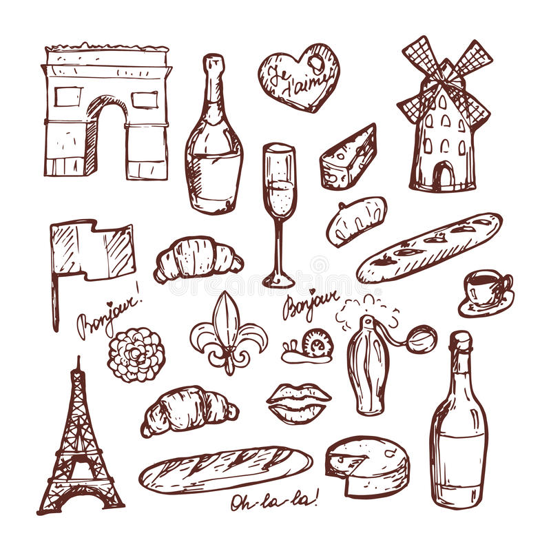 Francuz Paris ustawiający nakreślenie elementy ilustracji