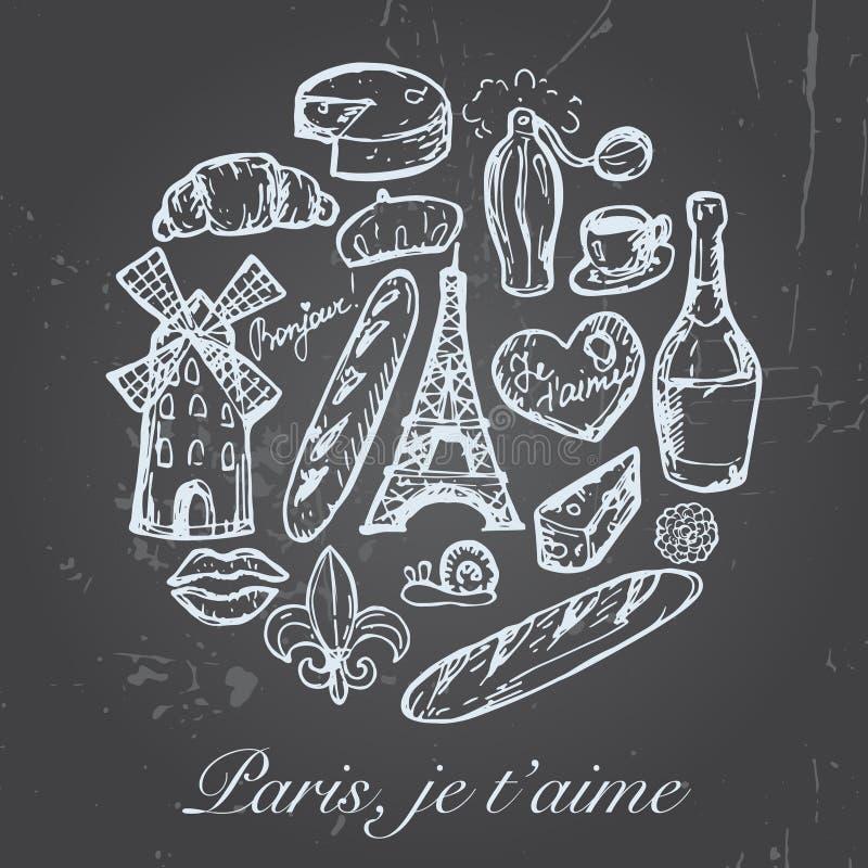 Francuz Paris ustawiający nakreślenie elementy ilustracja wektor