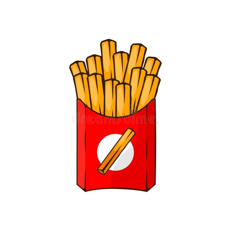 Francuz smażył grule w papierowym pudełku odizolowywającym na białym tle Fast food Układ scalony kawiarni menu Wektorowy kreskówk ilustracji