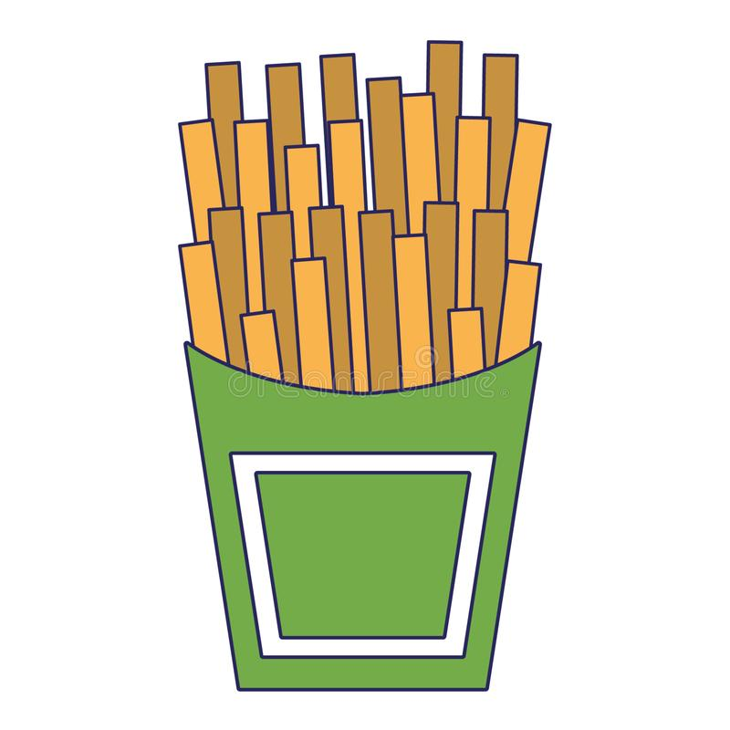 Francuz sma?y fast food kresk?wki odizolowywa? niebieskie linie royalty ilustracja