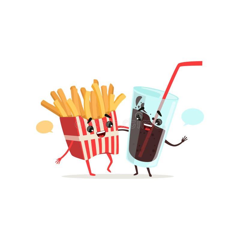 Francuz smaży i koli szkło z pustą mową gulgocze Śmieszny fasta food i napoju pojęcie Przyjaciel rozmowa odosobniony ilustracja wektor