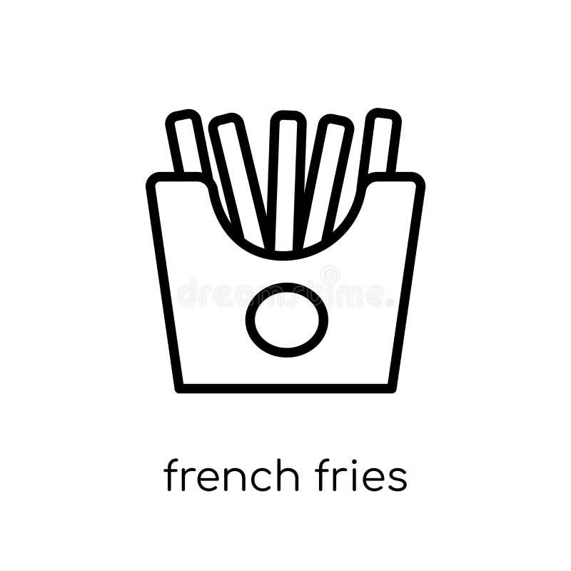 Francuz smaży ikonę Modni nowożytni płascy liniowi wektorowi francuzów dłoniaki royalty ilustracja