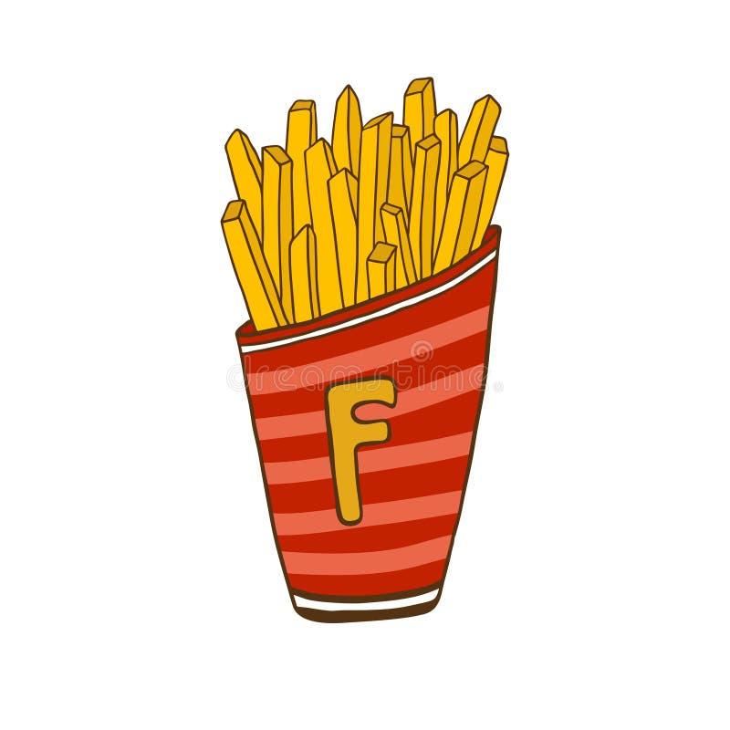 Francuz Smaży ilustrację Fast Food ikona Majcheru druku projekt ilustracji